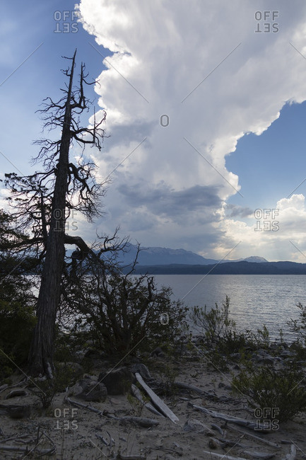 Clouds seen from shore of lake in Neuquen Province, Argentina