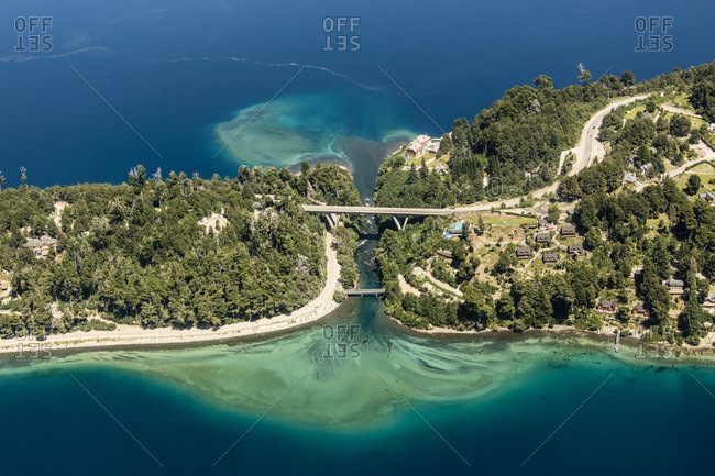 Aerial view of bridge between two islands at Correntoso Lake, Patagonia, Argentina