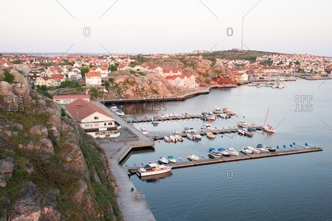 Coastal town with boats docked in the marina