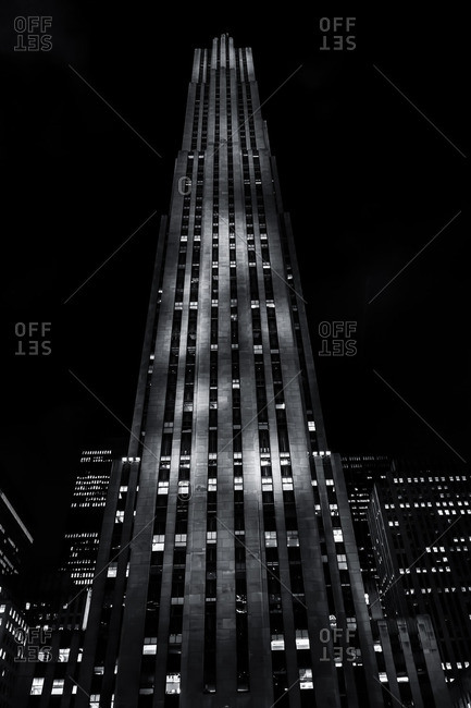 New York City, NY, USA - September 17, 2013: Rockefeller Center at night