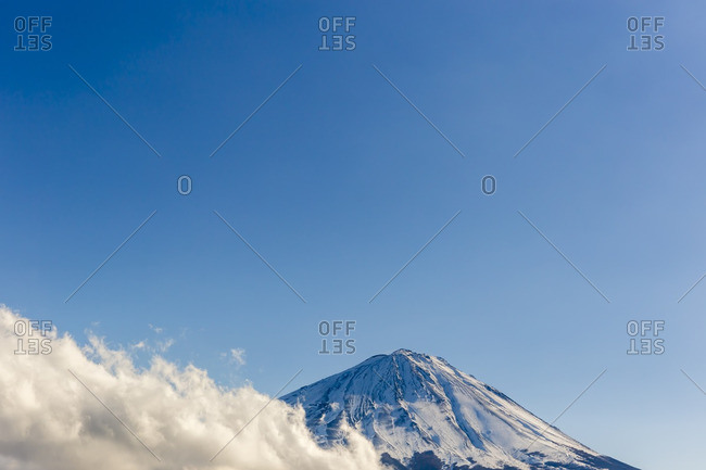 Summit of Mt. Fuji with cloud bank
