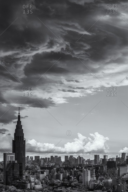 Tokyo skyline with menacing clouds