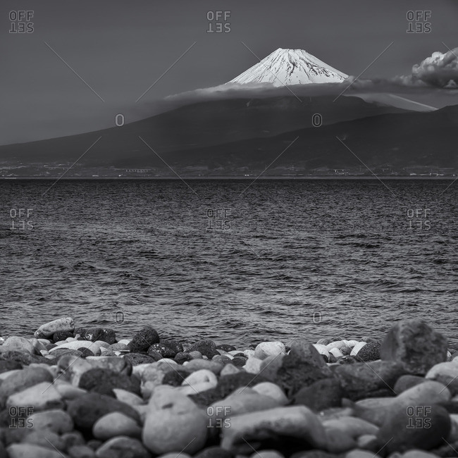 Lake with Mount Fuji in background