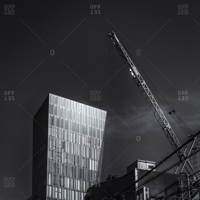 Tokyo, Japan - April 9, 2014: Glass tower and construction