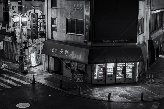 Tokyo, Japan - January 7, 2015: Quiet street corner at night