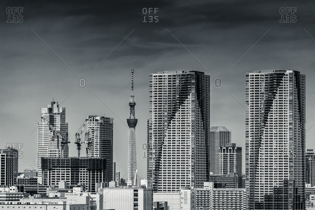 Buildings in Tokyo skyline