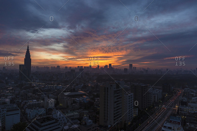 Dawn over Tokyo, Japan