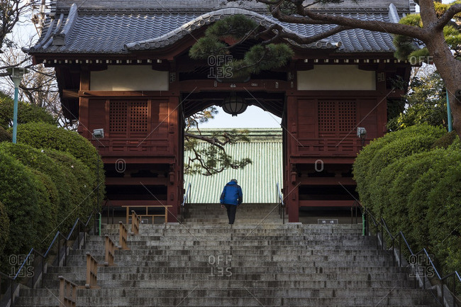 Person on stairs by temple gate, Tokyo