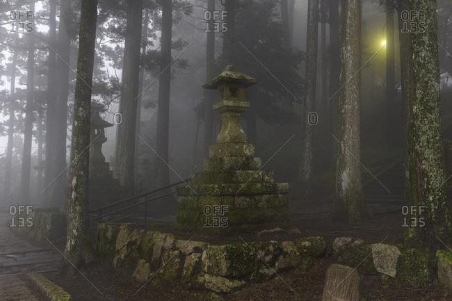 Moss-covered stone lanterns, Hakone, Japan