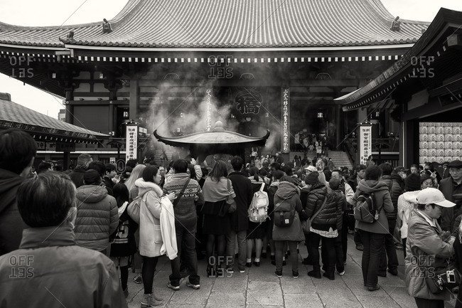Tokyo, Japan - December 6, 2015: People at Senso-ji temple, Asakusa