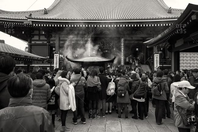 Tokyo, Japan - December 6, 2015: People at Senso-ji temple, Asakusa
