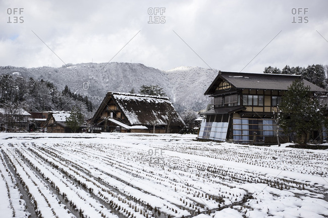 Houses in Japanese mountain village