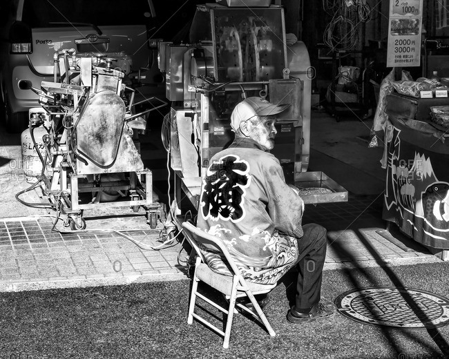 Tokyo, Japan - October 18, 2015: Snack vendor, Sugamo
