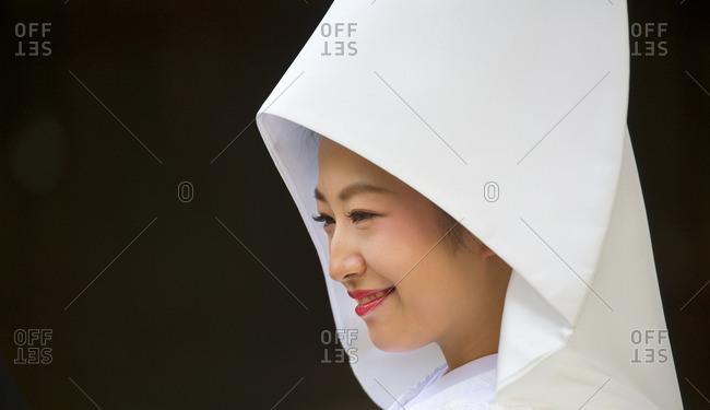 Tokyo, Japan - November 20, 2015: Close up of a traditional Japanese bride