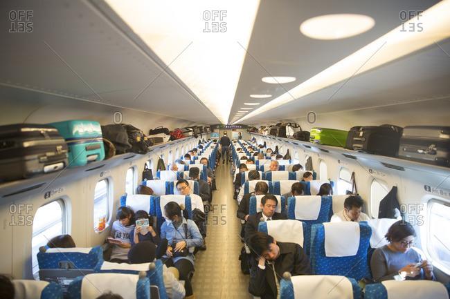 Tokyo, Japan - November 26, 2015: Bullet train interior of car