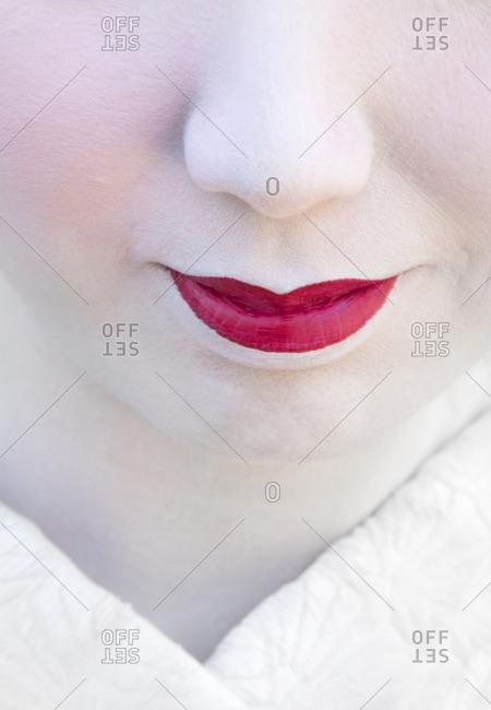 Close up Geisha's red lips