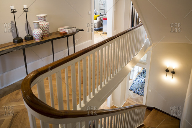 October 7, 2015: Banister and stairs in a contemporary furniture store