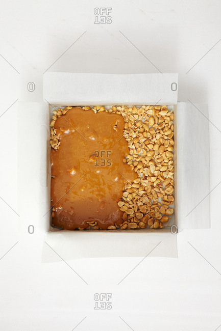 Caramel nut dessert on a white background