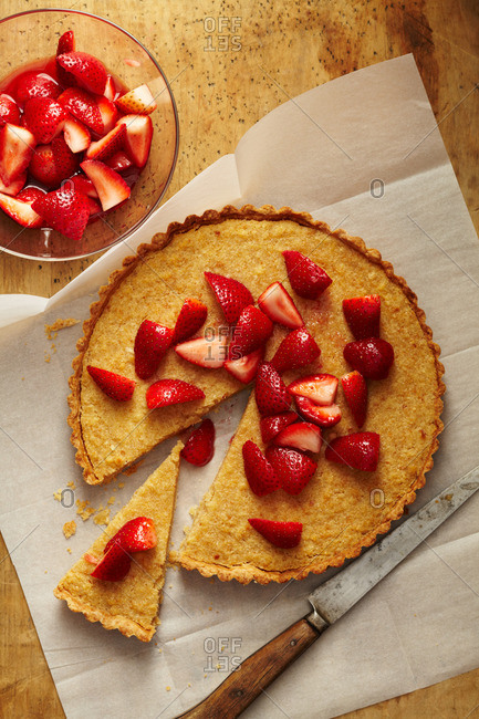 Strawberry tart on a wood table