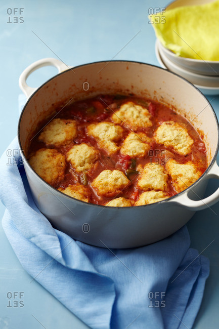 Savory tomato dish in an enamel pot