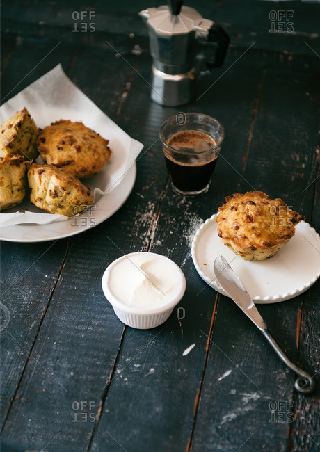 Savory muffins with coffee and cheese spread