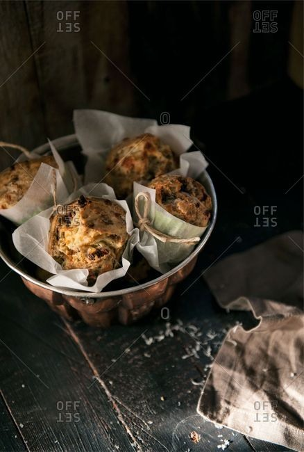 High angle view of muffins in a Bundt cake tin