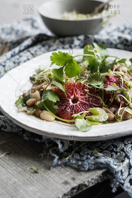 Blood orange and bean salad