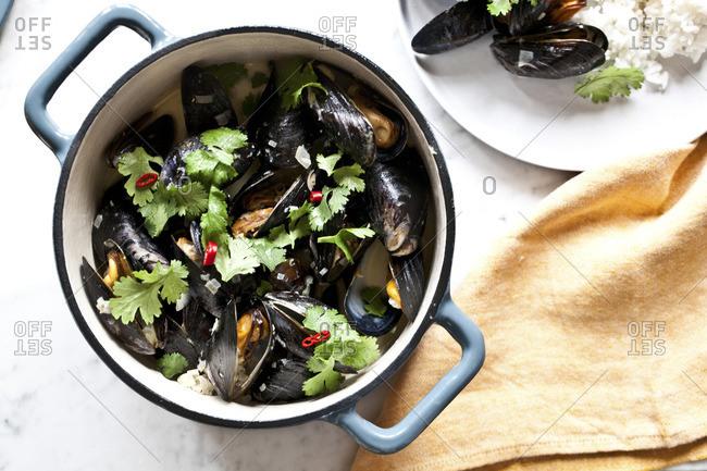 Mussels served in an enamel pot