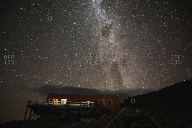 Milky Way over mountain building