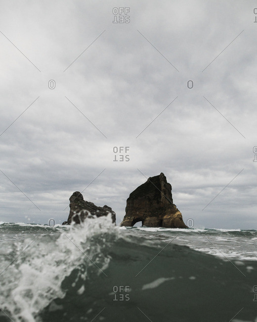 Ocean waves and rock formations