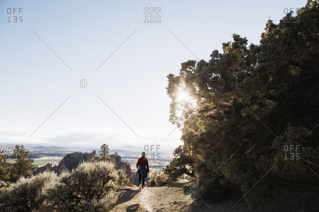 Woman on a rugged trail