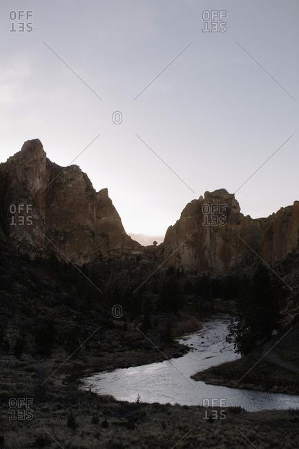 River winding in mountain peaks