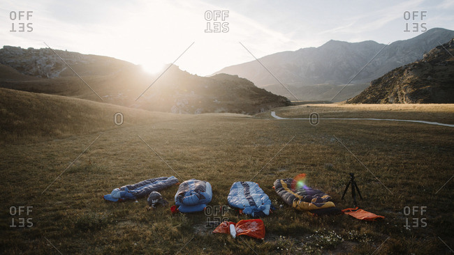 Sleeping bags in mountain prairie