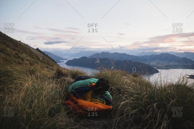 Camper over a mountain vista