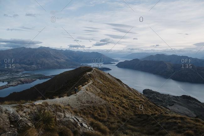 Hiker on a mountain ridge