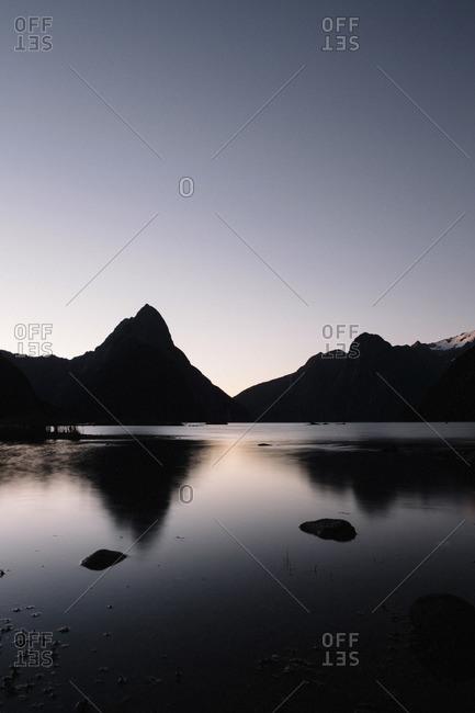 Peaks reflected on water