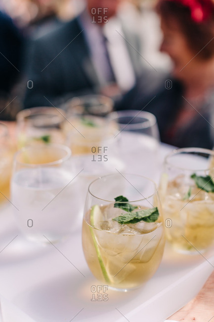 Close-up of alcoholic beverages on a table at a wedding reception