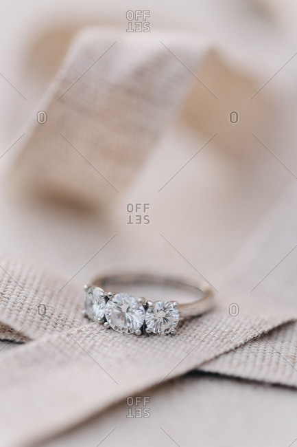 Close-up of a diamond wedding ring