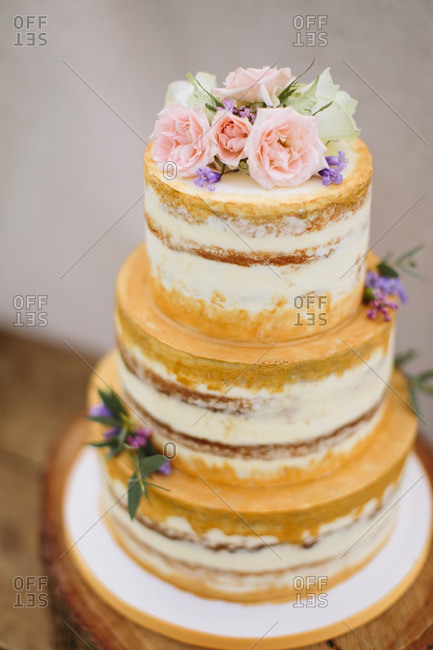 Layered cake with flowers