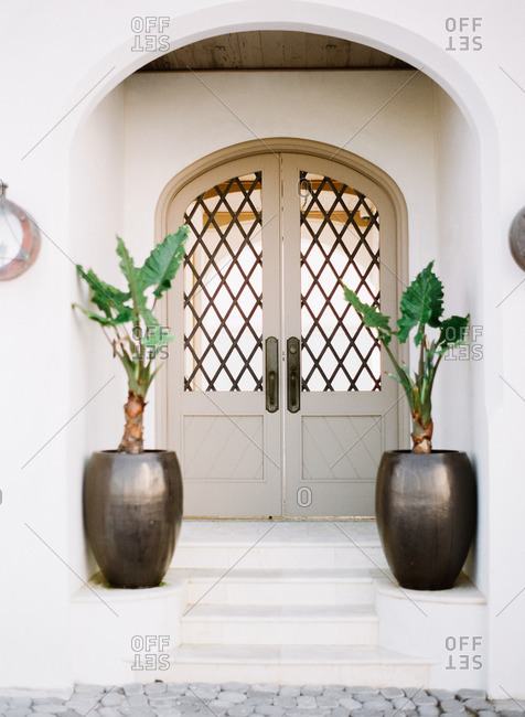 Arched plaster entryway with potted palms