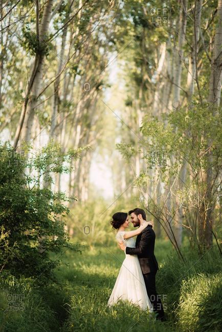 Bride and groom hugging in the woods