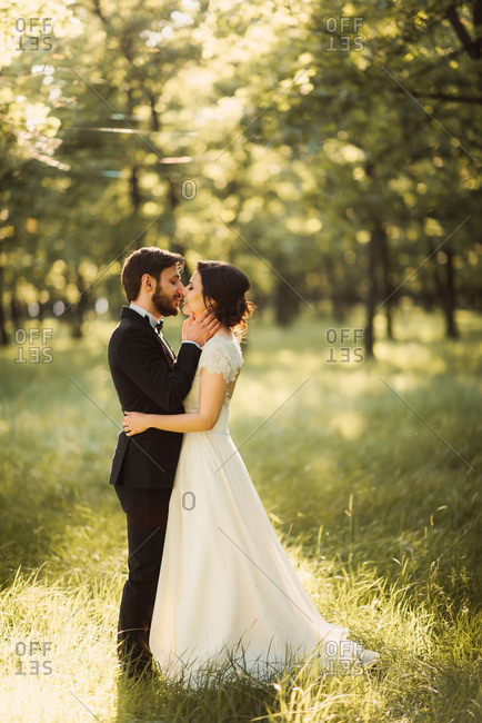 Newlyweds kissing in the countryside