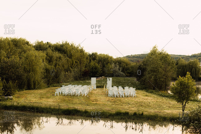 Countryside wedding ceremony set up