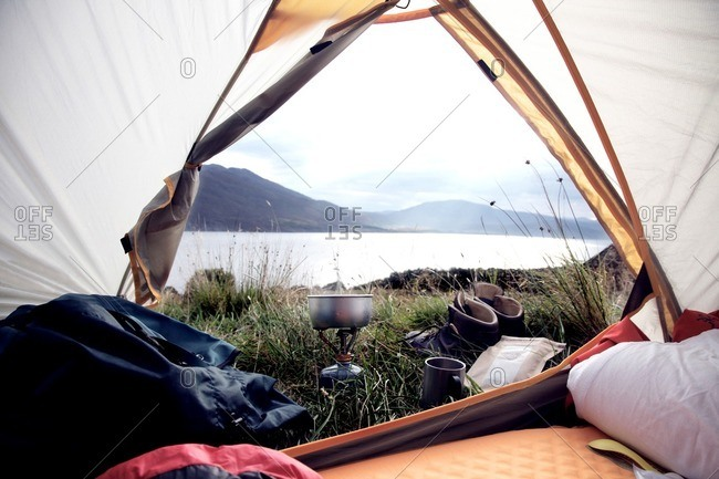 Lake and mountains seen from tent