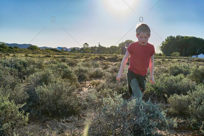 Boy walking through vegetation in a desert scrubland