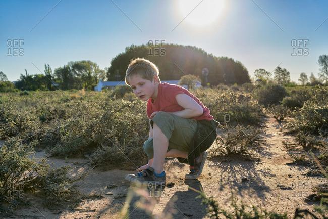 Boy exploring a desert scrubland