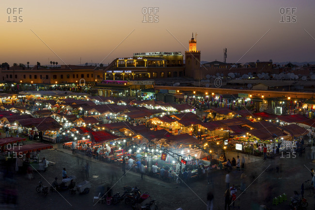 May 13, 2012: Jemaa el-Fnaa market in Marrakesh, at twilight