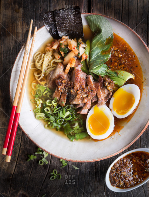 Overhead view of Japanese ramen soup with duck and egg