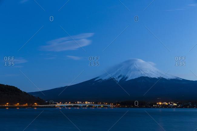 Mount Fuji at Lake Kawaguchi at Dusk, Yamanashi Prefecture, Japan