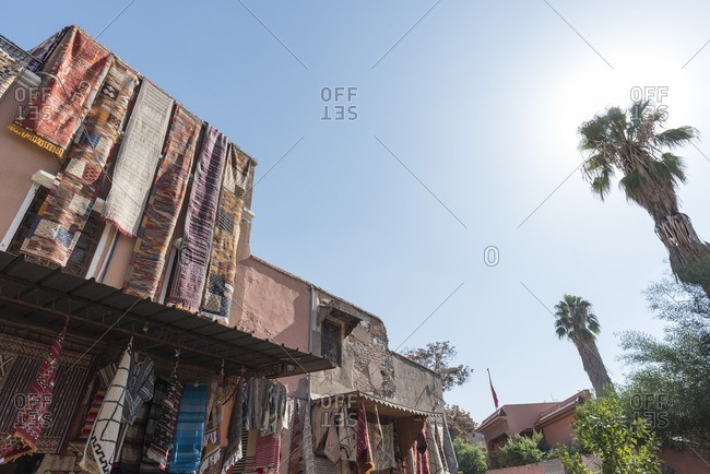 Rugs Hanging from Roof, Marrakesh, Morocco